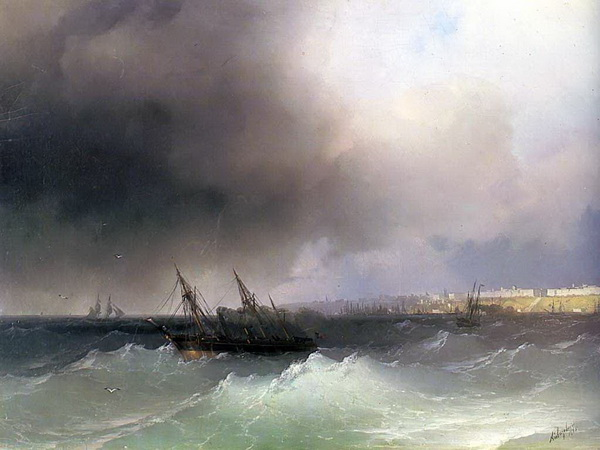 Айвазовский, Иван Константинович. Вид Одессы с моря. 1865.