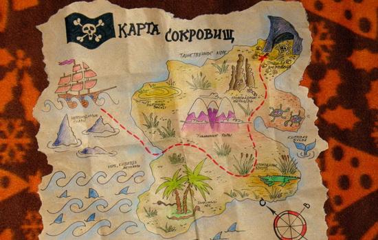 Что отмечено знаком X на пиратской карте сокровищ