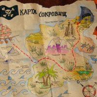 Что отмечено знаком X на пиратской карте сокровищ ?